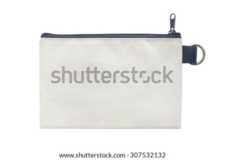 pocket purse bag on white background - stock photo
