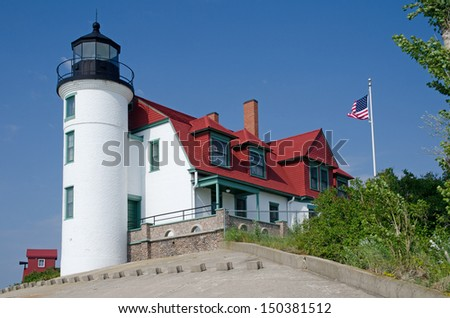 Point Betsie (Pointe Aux Bec Scies) Lighthouse, Michigan - stock photo