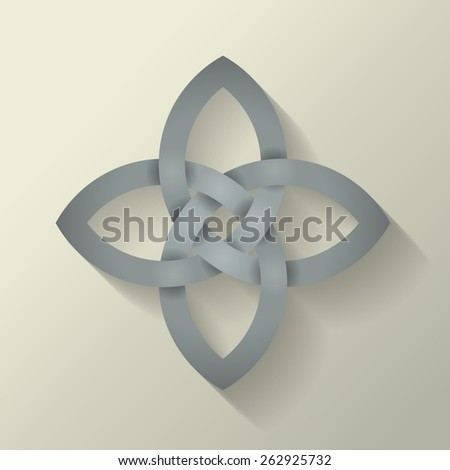 4 point Celtic knot with a long shadow effect. - stock photo