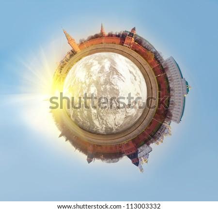 polar Panorama of Moscow. Kremlin - stock photo