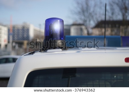 police car in the center of Magdeburg                    - stock photo