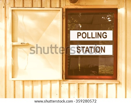 Polling station place for voters to cast ballots in elections vintage - stock photo