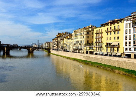 Ponte alla Carraia medieval Bridge. Florence, Italy. - stock photo