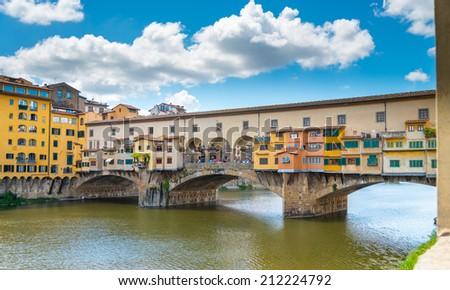ponte vecchio street view at florence. - stock photo
