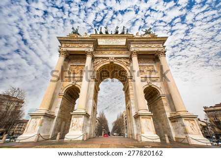 Porta Sempione (Simplon Gate) is a city gate of Milan - stock photo