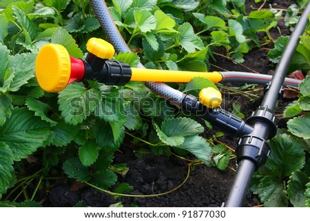 Portable garden plastic pipe system with a mounted shower sprayer head - stock photo
