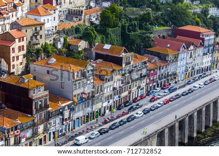 PORTO, PORTUGAL, on June 17, 2017. Authentic buildings make an attractive architectural complex of Douro River Embankment of in downtown. View from Ponte Luis I Bridge