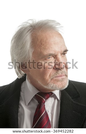 Portrait he elderly man is isolated on a white background
