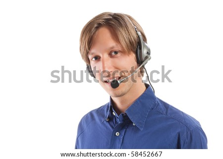 Portrait of a mature businessman working in a call center - stock photo