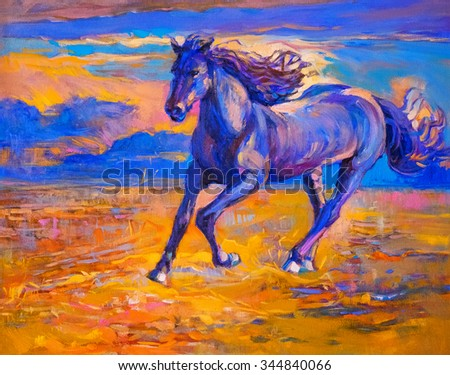 portrait of a running horse.  Oil painting on canvas. Modern art - stock photo