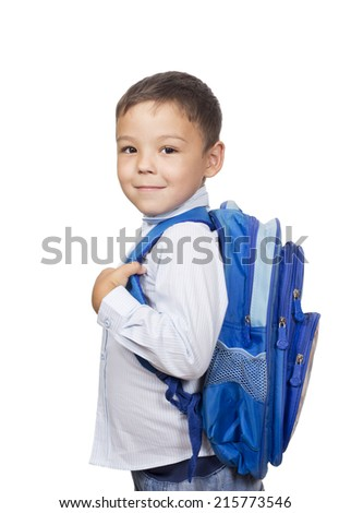 portrait of a school boy with backpack - stock photo