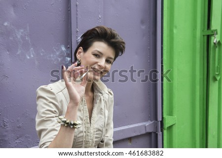 Portrait of a smoking woman