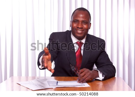 Portrait of an African American business - stock photo