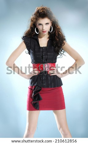 Portrait of beautiful casual young fashion model  - stock photo