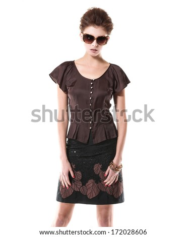 Portrait of beautiful casual young fashion model shot in studio - stock photo