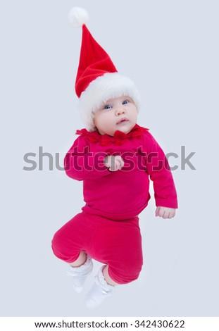portrait of Christmas baby on white  background - stock photo