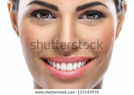 portrait of close up woman with great smile