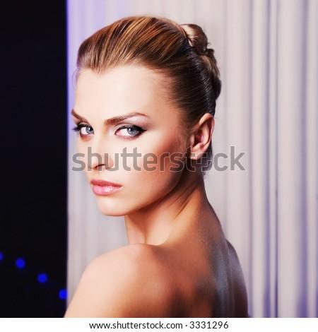 portrait of pretty fashionable girl - stock photo