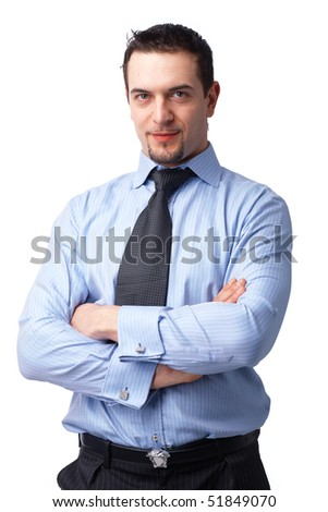 Portrait of successful businessman, smiling with his hands folded over white background. - stock photo