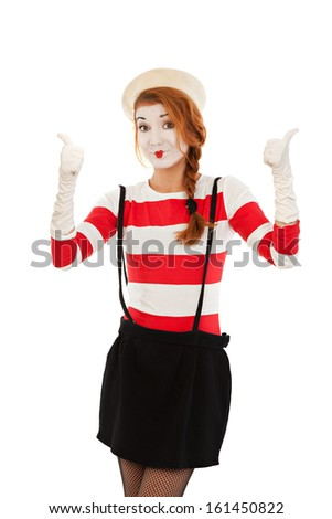 Portrait of the female MIM comedian showing thumbs up, isolated on white background - stock photo