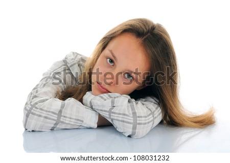 Portrait of the sad girl - stock photo