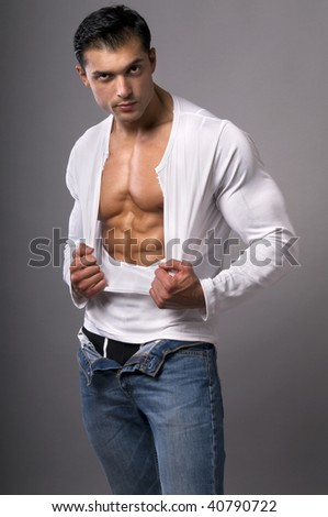 Portrait of young sexy man. - stock photo