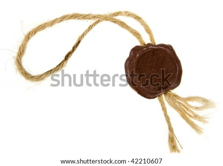 Post stamps , Empty seal wax with the cord isolated  on white background - stock photo