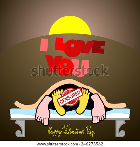 Postcard Valentine censors. joyful unusual Valentine's Day Card, a funny, dark background, sex on a bed, love and relationships between people, I love you - stock photo