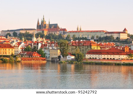 Prague Castle, one of the most famous landmarks  of Prague  at dawn - stock photo