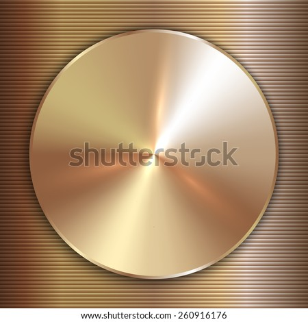 precious metal round gold plate with lined background - stock photo
