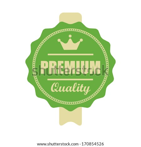 """Premium quality""vintage green label with ribbon. jpeg format. - stock photo"