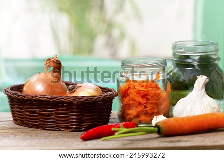 preparation of home-made vegetable - stock photo