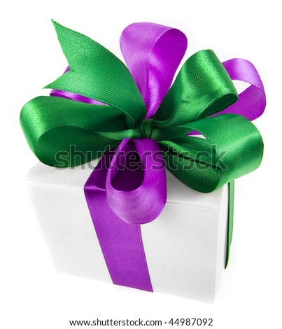 present box with bow isolated on white background - stock photo