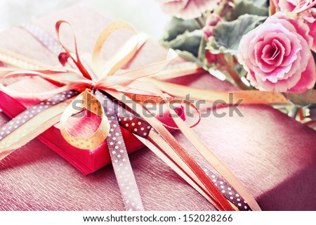 Present,gift  in vintage style/Vintage holiday background/Valentines day background - stock photo