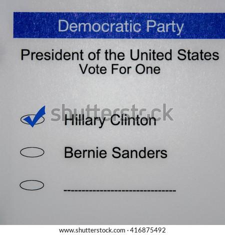 2016 Presidential Primary Democrat Ballot - Hillary Clinton - stock photo