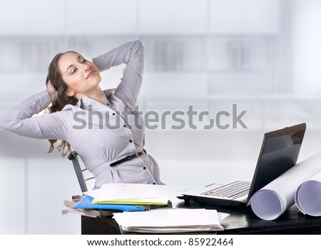 pretty young woman working and rest on computer