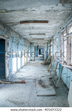 Pripyat in Ukraine, a town abandoned after Chornobyl (Chernobyl) Nuclear Plant Disaster. One of the abandoned buildings