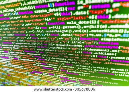 Programming code abstract screen of software developer. Technology background.  Website codes on computer monitor. (Code is my own property there is no risk of copyright violations) - stock photo
