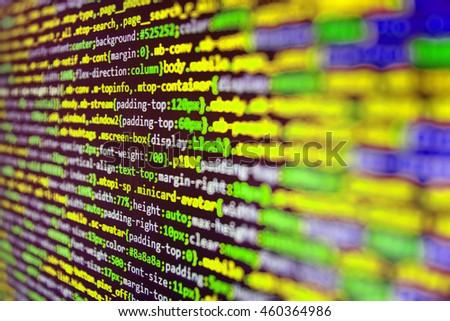 Programming code. Programmer occupation. Software development. Programmer developer screen. Writing programming code on laptop. Software background. Source code photo.   - stock photo