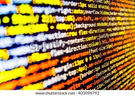 Programming code. Programming code abstract screen of software developer. Source code photo. Website programming code. Technology background. Writing program code on computer. Computer script.    - stock photo