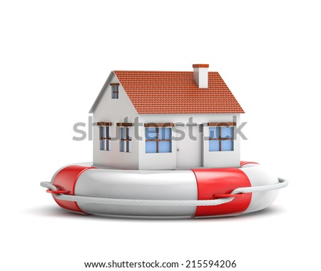 protection house with lifebuoy isolated white background with clipping path - stock photo