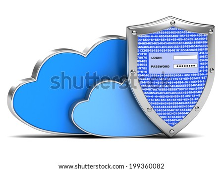 protection of information on the white background - stock photo