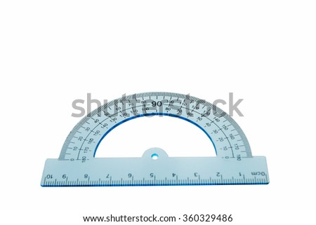 protractor, isolated over the white background - stock photo