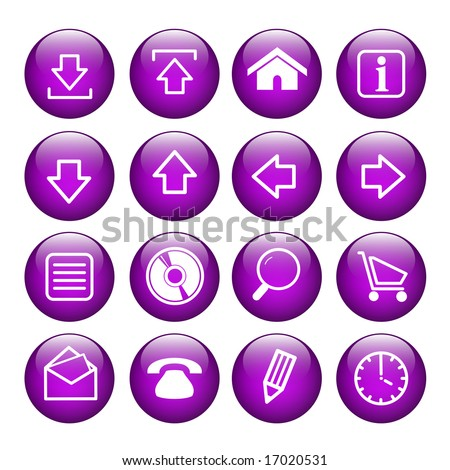 16 purple Internet Buttons - stock photo
