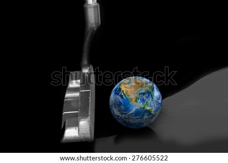 putter and ball , golf club,  world business and economic network games background, vision of business leader, including elements furnished by NASA - stock photo