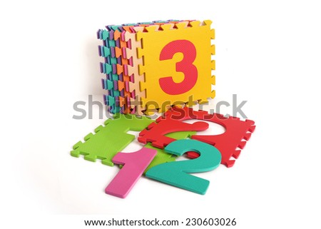 Puzzle mat, Number 1, Number 2, Number 3