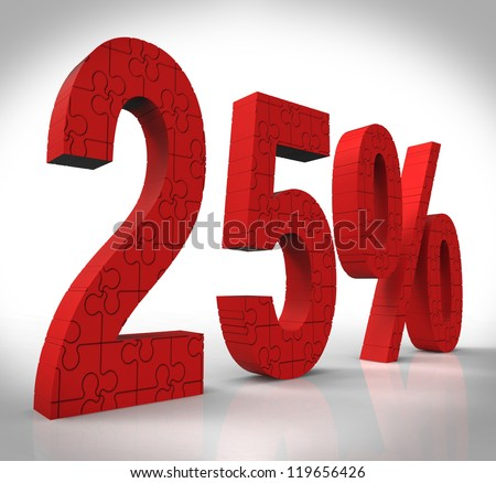 25 Puzzle Showing Gift Coupon And Savings - stock photo