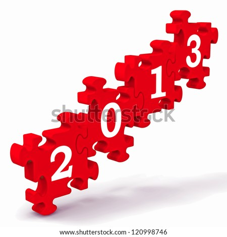 2013 Puzzle Showing New Year's Resolutions And Visions