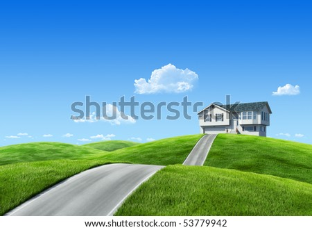 6000px nature collection - House on green meadow - stock photo