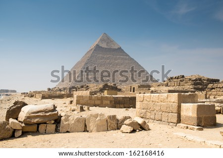 Pyramid of Khafre in Great pyramids complex in Giza - stock photo